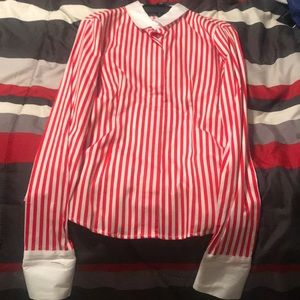 Red Striped Button Down Shirt